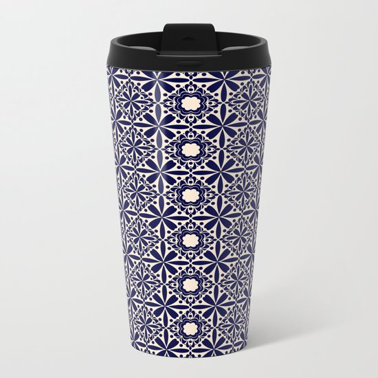 Pattern art curtain 2 Metal Travel Mug