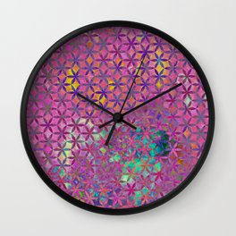 Flower-of-Life Paint Pattern Purple Wall Clock