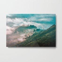 Rice terraces in early morning mist in Kathmandu Valley, Nepal Metal Print