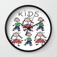 kids Wall Clocks featuring Kids by Digital-Art