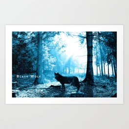Black Wolf Alone in the Forest Art Print