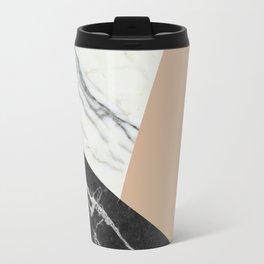 Black and white marble with pantone hazelnut Travel Mug