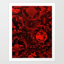 Red and Black IOOF  Woven Symbolism Tapestry Art Print