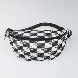 Black and White Checkerboard Scales of Justice Legal Pattern Fanny Pack