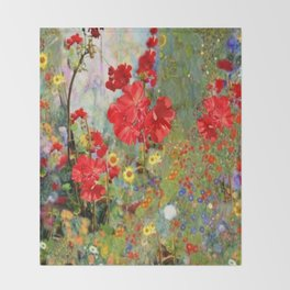 Red Geraniums in Spring Garden Landscape Painting Throw Blanket