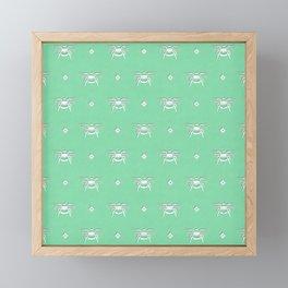 Bee Stamped Motif on Spearmint Framed Mini Art Print