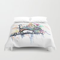 punk rock Duvet Covers featuring Punk Rock Skull Kitty Owns this City by Jessi Adrignola