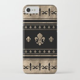 Fleur-de-lis Luxury ornament - black and gold iPhone Case