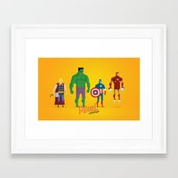 super heroes Framed Art Prints featuring Super Heroes - Pixel Nostalgia by Boo! Studio