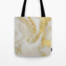 Marble - Swirled Shimmer Gold Marble Yellow on White Marble Tote Bag