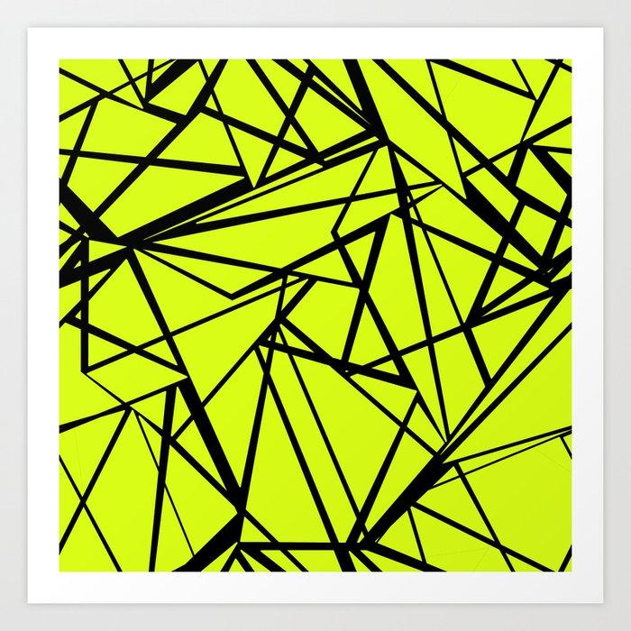 An abstract geometric pattern . Yellow green pattern . Art Print