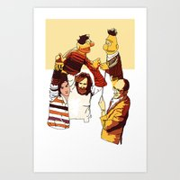 muppets Art Prints featuring Bert & Ernie Muppets by joshuahillustration
