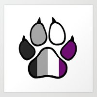 asexual Art Prints featuring Asexual Furry Pride by Jeymohr