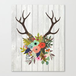 Antlers with Flowers Canvas Print