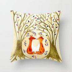 Two Foxes Meet In The Trees Throw Pillow