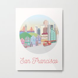 San Francisco City Art Metal Print