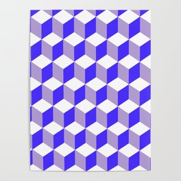 Diamond Repeating Pattern In Nebulas Blue and Grey Poster