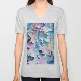 Displacement glitch abstract background Unisex V-Neck