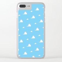 Cartoon Clouds Background Clear iPhone Case