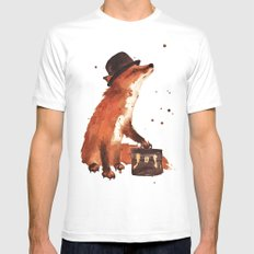Fox in hat, office decor, gift for the boss, fox, fox painting, British fox MEDIUM White Mens Fitted Tee