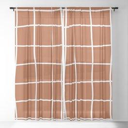 Large Hand Drawn Grid (white/burnt orange) Sheer Curtain