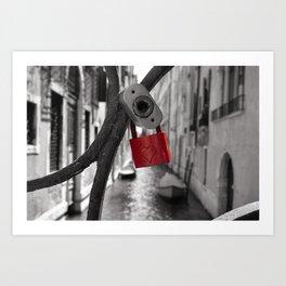 Red Locker Heart Love on a bridge Black and White in Venice Art Print