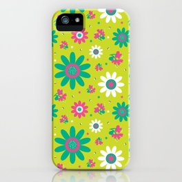 Retro Fall 60's Sunflower Floral in Lime Green iPhone Case