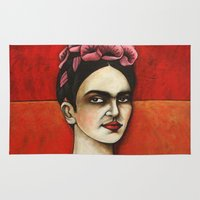 frida kahlo Area & Throw Rugs featuring Frida Kahlo by The Waking Artist