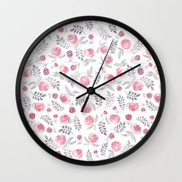 Pink and Grey Florals Wall Clock