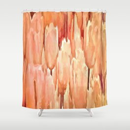 Coral Tulips Abstract Floral Pattern Shower Curtain