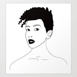 Simply black lady Art Print