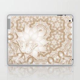 Butterfly on mandala in iced coffee tones Laptop & iPad Skin