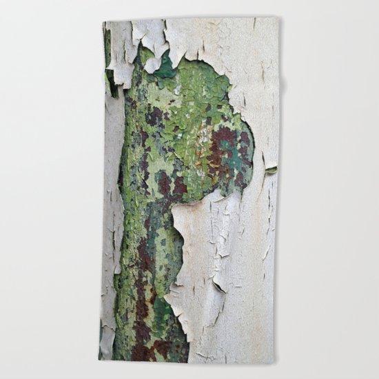 white green paint rust metal texture pattern Beach Towel