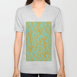 Mint Green and Yellow Leaves Gouache Pattern Unisex V-Neck