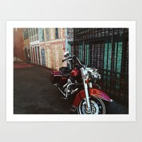 motorcycle Art Prints featuring Motorcycle by Kathleen Robertson