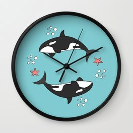 Killer Whale Wreath Wall Clock