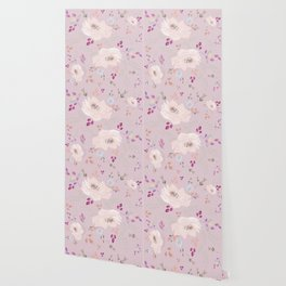 Watercolor blooming roses, tulips, and leaves contrast pinks Wallpaper