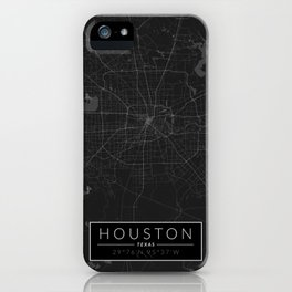 Houston Map - Black and White (Dark) iPhone Case