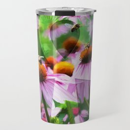 """Life"" - Ankh with Purple Cone Flowers Travel Mug"