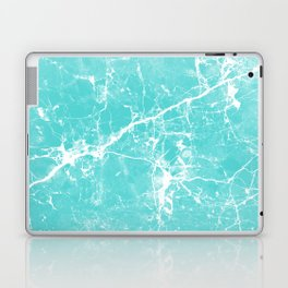 Aqua white modern stylish marble Laptop & iPad Skin