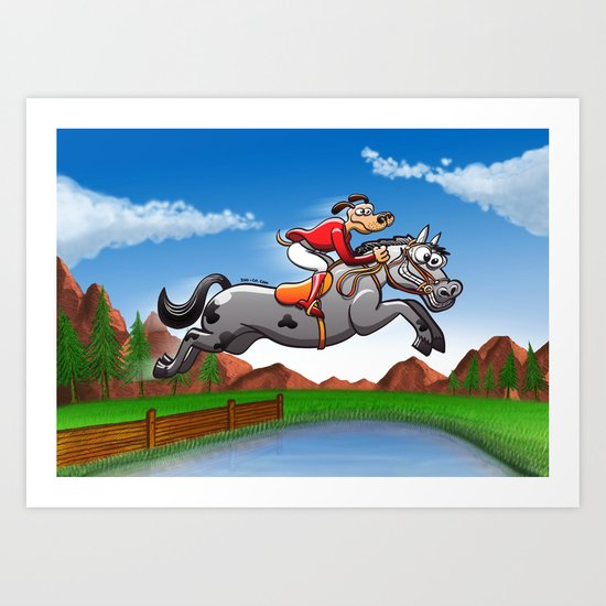 Olympic Equestrian Jumping Dog Art Print