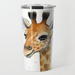 Baby-Giraffe-Nursery-Print-Watercolor-Animal-Portrait-Hearts Travel Mug