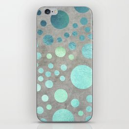Turquoise Metallic Dots Pattern on Concrete Texture iPhone Skin