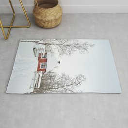 Red Cabin In The Snow Photo | Norway Winter Holiday Season Scenery Art Print | Travel Photography Rug