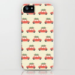Red Vintage Christmas Cars iPhone Case