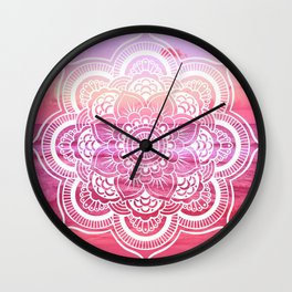 Water Mandala Hot Pink Fuchsia Wall Clock