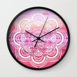 Water Mandala Hot Pink Fuchsia Wall Clock