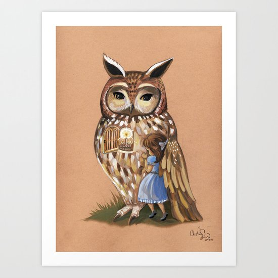 Under His Wing -Owl Print Art Print
