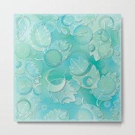 Floating Leaves Pattern IV - Winter, Ice Teal Metal Print