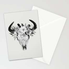 Monochrome Floral bohemian black and white watercolor animal stag head skull boho home wall decor Stationery Cards